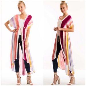 Striped Summer Tie Kimono